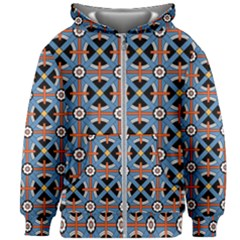 Pattern Weave Background Blue Red Black Kids  Zipper Hoodie Without Drawstring by Vaneshart