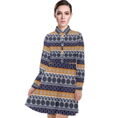 Abstract Seamless,pattern Graphic Lines Vintage Background Grunge Diamond Square Long Sleeve Chiffon Shirt Dress
