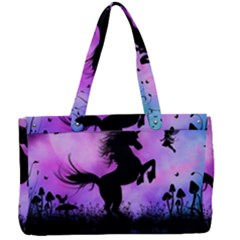 Wonderful Unicorn With Fairy In The Night Canvas Work Bag by FantasyWorld7