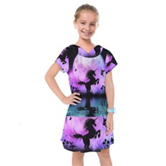 Wonderful Unicorn With Fairy In The Night Kids  Drop Waist Dress by FantasyWorld7