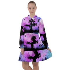 Wonderful Unicorn With Fairy In The Night All Frills Chiffon Dress