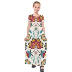Baatik Print  Kids  Short Sleeve Maxi Dress by designsbymallika