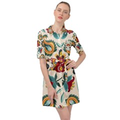 Baatik Print  Belted Shirt Dress