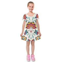 Baatik Print  Kids  Short Sleeve Velvet Dress by designsbymallika