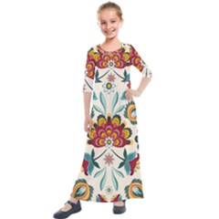Baatik Print  Kids  Quarter Sleeve Maxi Dress