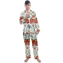 Baatik Print  Men s Satin Pajamas Long Pants Set