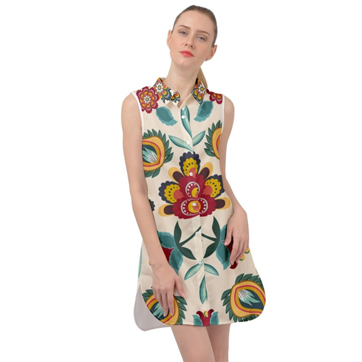 Baatik Print  Sleeveless Shirt Dress
