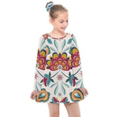 Baatik Print  Kids  Long Sleeve Dress
