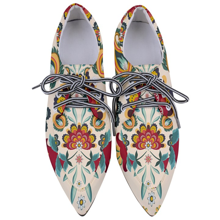 Baatik Print  Women s Pointed Oxford Shoes