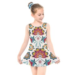 Baatik Print  Kids  Skater Dress Swimsuit