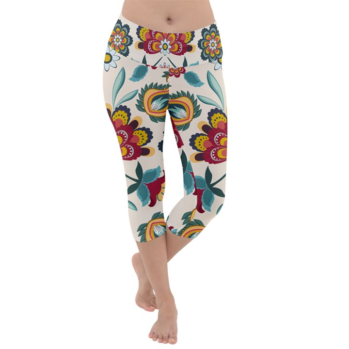 Baatik Print  Lightweight Velour Capri Yoga Leggings