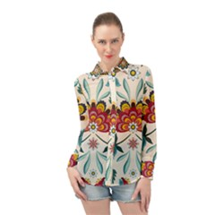 Baatik Print  Long Sleeve Chiffon Shirt