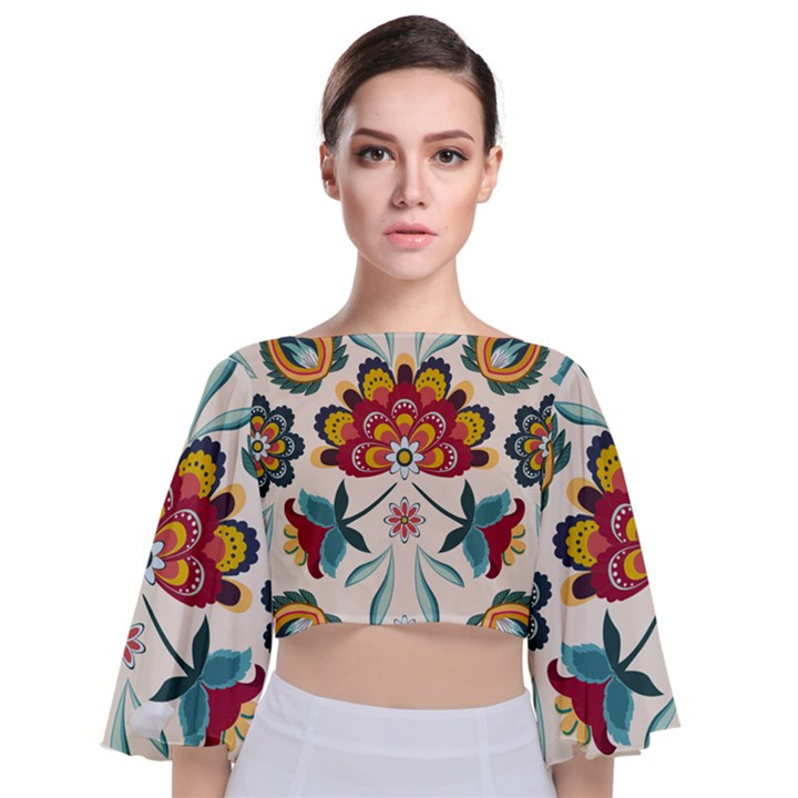 Baatik Print  Tie Back Butterfly Sleeve Chiffon Top