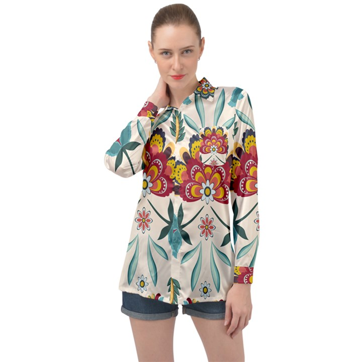 Baatik Print  Long Sleeve Satin Shirt