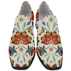 Baatik Print  Women Slip On Heel Loafers