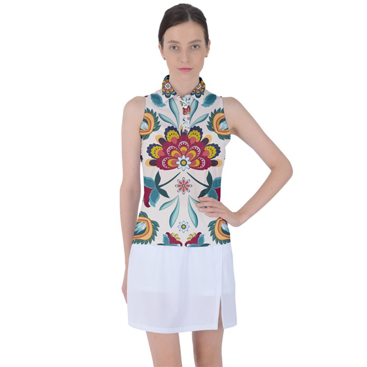 Baatik Print  Women's Sleeveless Polo Tee