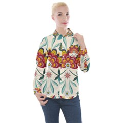 Baatik Print  Women s Long Sleeve Pocket Shirt