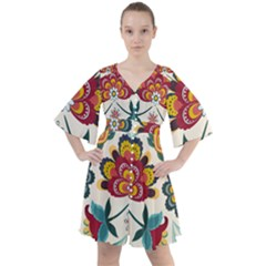 Baatik Print  Boho Button Up Dress