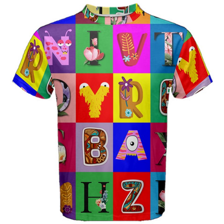 Alphabet Pattern Men s Cotton Tee