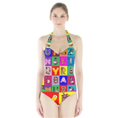Alphabet Pattern Halter Swimsuit