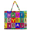 Alphabet Pattern Zipper Large Tote Bag View1