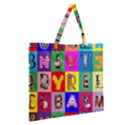 Alphabet Pattern Zipper Large Tote Bag View2