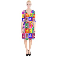 Alphabet Pattern Wrap Up Cocktail Dress