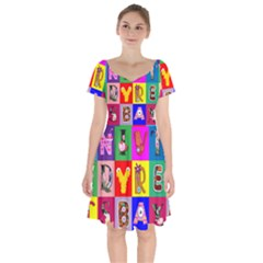 Alphabet Pattern Short Sleeve Bardot Dress