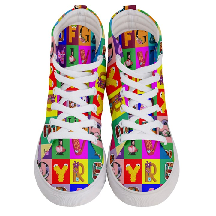 Alphabet Pattern Men s Hi-Top Skate Sneakers