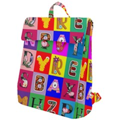 Alphabet Pattern Flap Top Backpack by designsbymallika