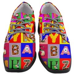Alphabet Pattern Women Heeled Oxford Shoes