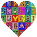 Alphabet Pattern Wooden Puzzle Heart View1
