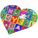 Alphabet Pattern Wooden Puzzle Heart View2