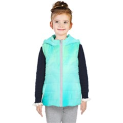 Blue Green Shades Kids  Hooded Puffer Vest