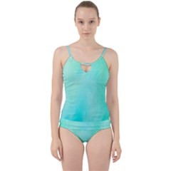Blue Green Shades Cut Out Top Tankini Set by designsbymallika