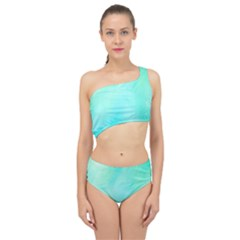 Blue Green Shades Spliced Up Two Piece Swimsuit by designsbymallika