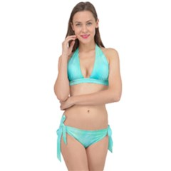 Blue Green Shades Tie It Up Bikini Set by designsbymallika