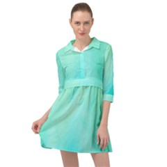 Blue Green Shades Mini Skater Shirt Dress