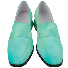 Blue Green Shades Women s Chunky Heel Loafers