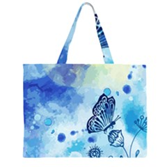 Blue Shaded Design Zipper Large Tote Bag by designsbymallika