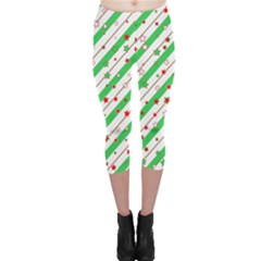 Christmas Paper Stars Pattern Texture Background Colorful Colors Seamless Copy Capri Leggings