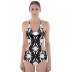 Abstract Seamlesspattern Graphic Lines Vintage Background Grunge Frame Diamond Cut Out One Piece Swimsuit