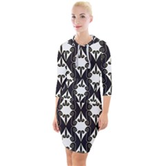 Abstract Seamlesspattern Graphic Lines Vintage Background Grunge Frame Diamond Quarter Sleeve Hood Bodycon Dress