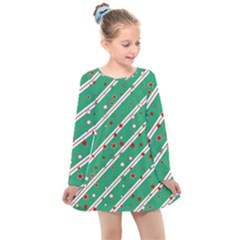 Christmas Paper Stars Pattern Texture Background Kids  Long Sleeve Dress