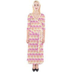 Abstract Seamlesspattern Graphic Lines Vintage Background Grunge Frame Leaf Quarter Sleeve Wrap Maxi Dress