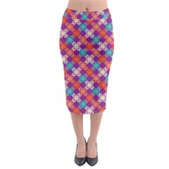 Abstract Seamlesspattern Graphic Lines Vintage Background Grunge Diamond Square Midi Pencil Skirt