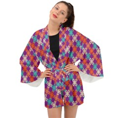 Abstract Seamlesspattern Graphic Lines Vintage Background Grunge Diamond Square Long Sleeve Kimono