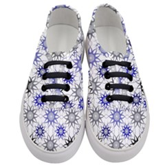 Pearl Pattern Floral Design Art Digital Seamless Blue Black Women s Classic Low Top Sneakers