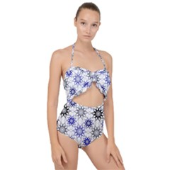 Pearl Pattern Floral Design Art Digital Seamless Blue Black Scallop Top Cut Out Swimsuit