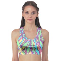 Feathers Pattern Sports Bra by Sobalvarro